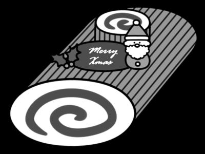 クリスマスケーキ 白黒フリー素材 無料イラスト ブッシュドノエル