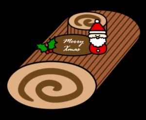 クリスマスケーキ フリー素材 無料イラスト ブッシュドノエル
