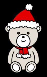 クリスマスベア フリー素材 無料イラスト 白