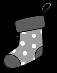 クリスマス 靴下イラスト 白黒フリー素材 水玉