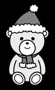 クリスマスベア 白黒フリー素材 無料イラスト
