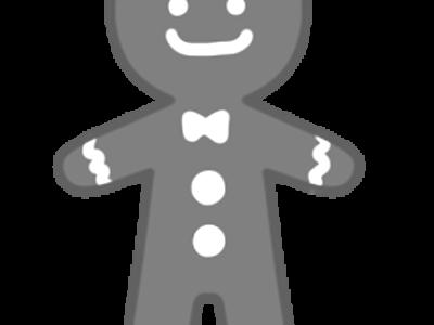 ジンジャーマンクッキー クリスマス無料イラスト 白黒フリー素材