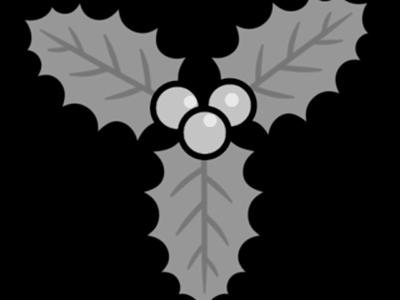 クリスマス セイヨウヒイラギ 無料イラスト 白黒フリー素材