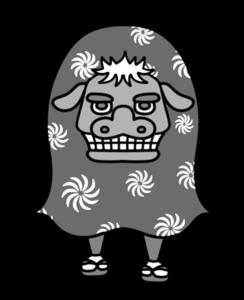獅子舞 白黒フリー素材 お正月イラスト
