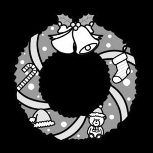 クリスマスリース 白黒フリー素材