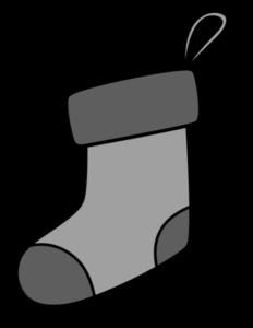 クリスマス 靴下イラスト 白黒フリー素材