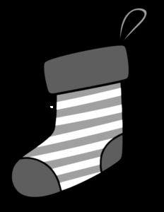 クリスマス 靴下イラスト 白黒フリー素材 縞模様