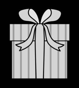 クリスマスプレゼント 白黒フリー素材 無料イラスト