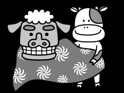 獅子舞 牛 白黒フリー素材 お正月イラスト