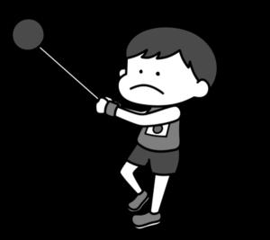 陸上 ハンマー投げ オリンピック日本代表 白黒フリー素材 男子