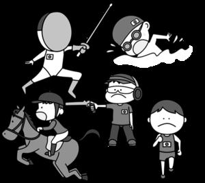 近代五種 オリンピック日本代表 白黒フリー素材 男子