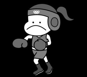 ボクシング オリンピック日本代表 白黒フリー素材 女子