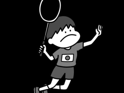 バドミントン オリンピック日本代表 白黒フリー素材 男子