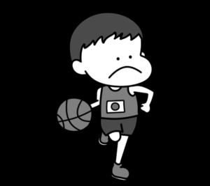 バスケットボール オリンピック日本代表 白黒フリー素材 男子