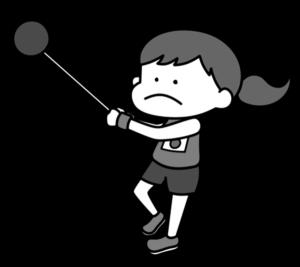 陸上 ハンマー投げ オリンピック日本代表 白黒フリー素材 女子