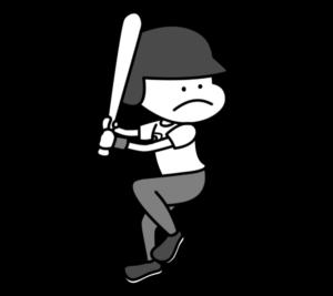 野球 オリンピック日本代表 白黒フリー素材