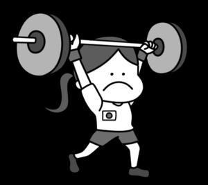 重量挙げ ウエイトリフティング オリンピック日本代表 白黒フリー素材 女子