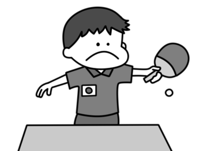 卓球 オリンピック日本代表 白黒フリー素材 男子