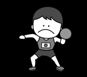 陸上 砲丸投げ オリンピック日本代表 白黒フリー素材 男子