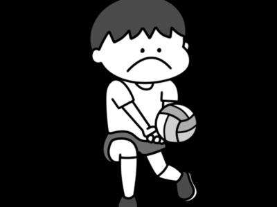 バレーボール オリンピック日本代表 白黒フリー素材 男子