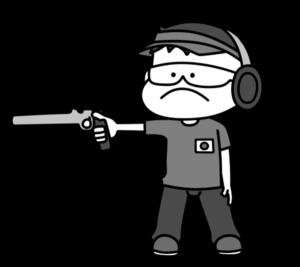 射撃 オリンピック日本代表 白黒フリー素材 男子