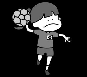 ハンドボール オリンピック日本代表 白黒フリー素材 女子