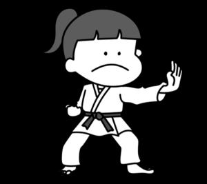 空手 オリンピック日本代表 白黒フリー素材 女子