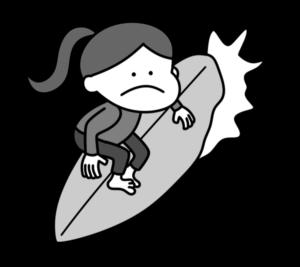 サーフィン オリンピック日本代表 白黒フリー素材 女子