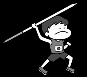 陸上 やり投げ オリンピック日本代表 白黒フリー素材 男子