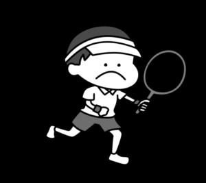 テニス オリンピック日本代表 白黒フリー素材 男子