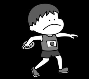 陸上 円盤投げ オリンピック日本代表 白黒フリー素材 男子