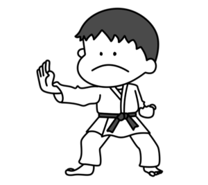 空手 オリンピック日本代表 白黒フリー素材 男子