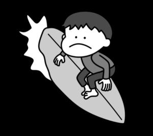 サーフィン オリンピック日本代表 白黒フリー素材 男子