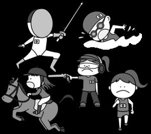 近代五種 オリンピック日本代表 白黒フリー素材 女子