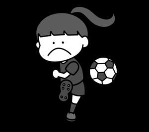 サッカー オリンピック日本代表 白黒フリー素材 女子