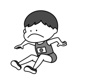 陸上 幅跳び オリンピック日本代表 白黒フリー素材 男子