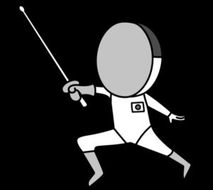 フェンシング オリンピック日本代表 白黒フリー素材