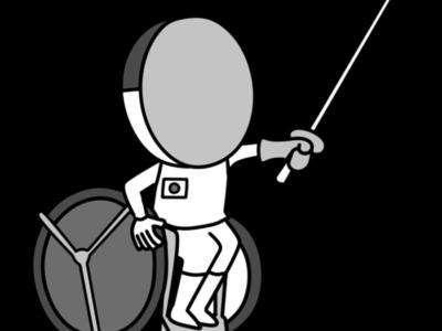 車椅子フェンシング パラリンピック 日本代表 白黒フリー素材