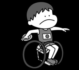円盤投げ パラリンピック 日本代表 白黒フリー素材 男子