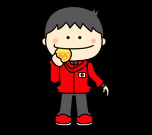 メダルをかじる オリンピック日本代表 フリー素材 男子 金