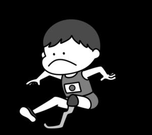 走り幅跳び パラリンピック 日本代表 白黒フリー素材 男子