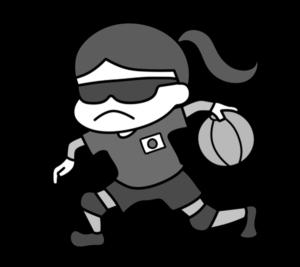 ゴールボール パラリンピック 日本代表 白黒フリー素材 女子