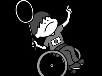 バドミントン パラリンピック 日本代表 白黒フリー素材 男子