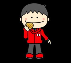 メダルをかじる オリンピック日本代表 フリー素材 男子 銅