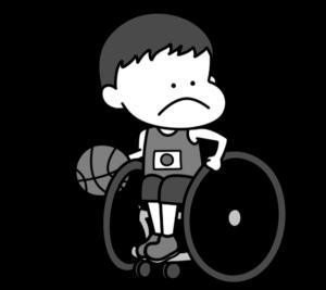 車椅子バスケットボール パラリンピック 日本代表 白黒フリー素材 男子
