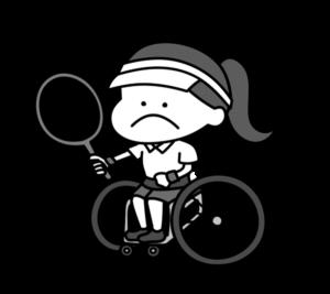 車椅子テニス パラリンピック 日本代表 白黒フリー素材 女子