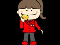 メダルをかじる オリンピック日本代表 フリー素材 女子 金