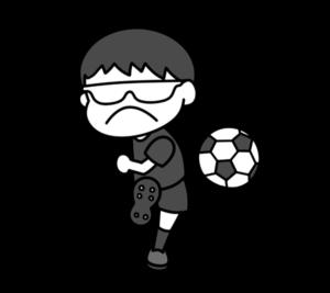 5人制サッカー パラリンピック 日本代表 白黒フリー素材 男子