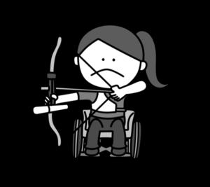 アーチェリー パラリンピック 日本代表 白黒フリー素材 女子