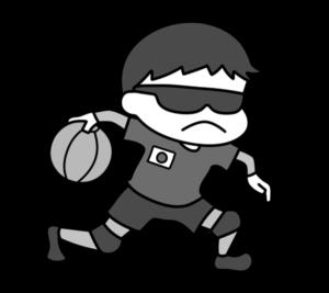ゴールボール パラリンピック 日本代表 白黒フリー素材 男子